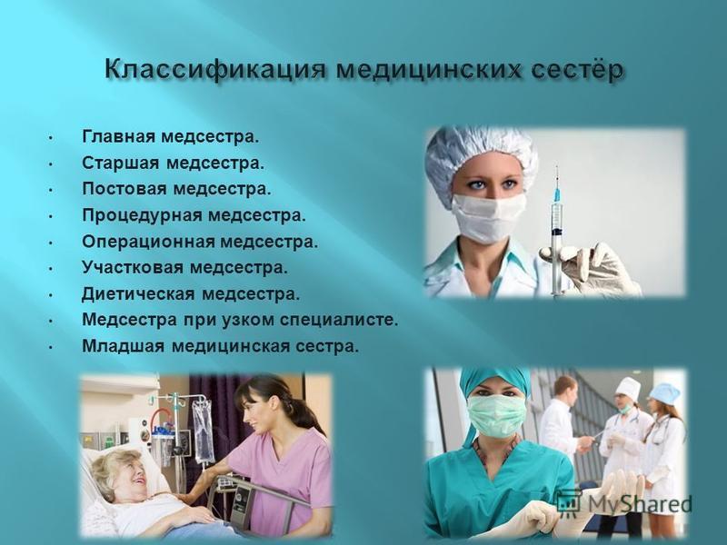 Главная медсестра. Старшая медсестра. Постовая медсестра. Процедурная медсестра. Операционная медсестра. Участковая медсестра. Диетическая медсестра. Медсестра при узком специалисте. Младшая медицинская сестра.