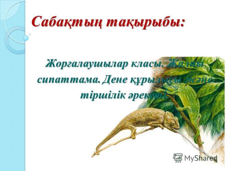 Сабақтың тақырыбы: Сабақтың тақырыбы: Жорғалаушылар классы. Жалпы сипатама. Дене құрилысы және тіршілік әрекеті.