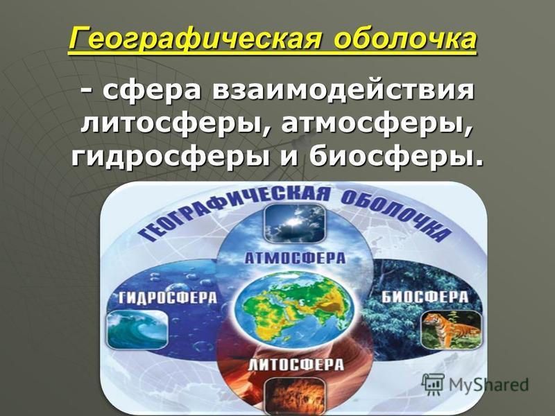 Географическая оболочка - сфера взаимодействия литосферы, атмосферы, гидросферы и биосферы.