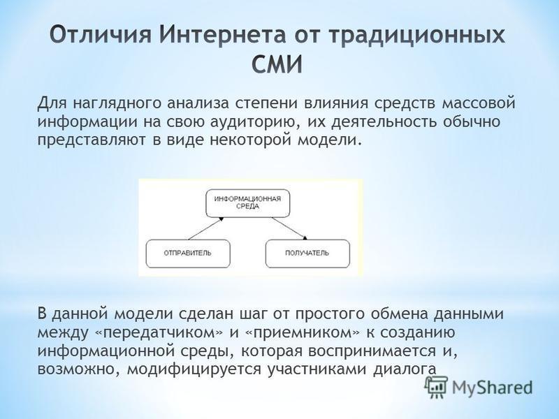 Для наглядного анализа степени влияния средств массовой информации на свою аудиторию, их деятельность обычно представляют в виде некоторой модели. В данной модели сделан шаг от простого обмена данными между «передатчиком» и «приемником» к созданию ин