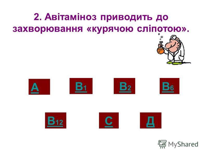 1. Авітаміноз приводить до захворювання на цингу. Тест «Вітаміни» А В 12 В2 В2 СД В1В1 В6В6