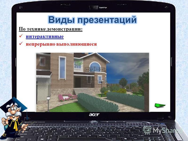 По технике демонстрации: интерактивные непрерывно выполняющиеся
