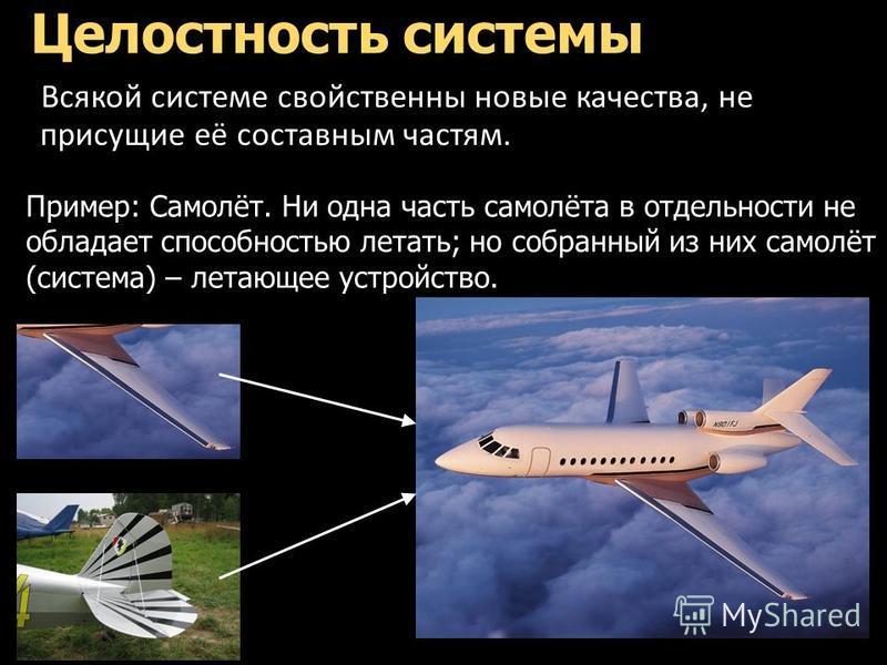 Целостность системы Всякой системе свойственны новые качества, не присущие её составным частям. Пример: Самолёт. Ни одна часть самолёта в отдельности не обладает способностью летать; но собранный из них самолёт (система) – летающее устройство.
