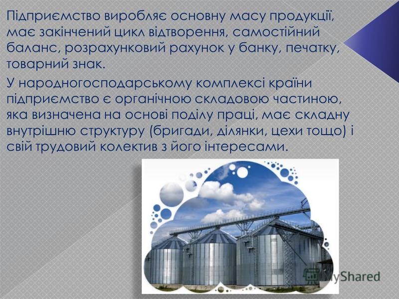 Підприємство виробляє основну масу продукції, має закінчений цикл відтворення, самостійний баланс, розрахунковий рахунок у банку, печатку, товарний знак. У народногосподарському комплексі країни підприємство є органічною складовою частиною, яка визна