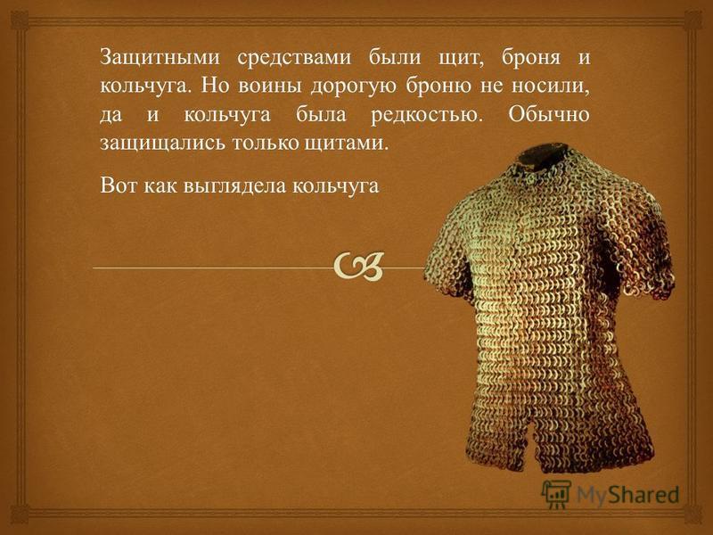 Защитными средствами были щит, броня и кольчуга. Но воины дорогую броню не носили, да и кольчуга была редкостью. Обычно защищались только щитами. Вот как выглядела кольчуга