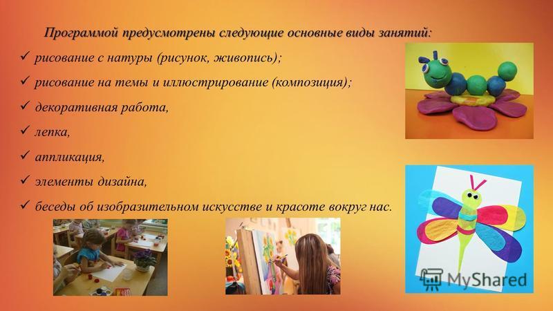 Программой предусмотрены следующие основные виды занятий: рисование с натуры (рисунок, живопись); рисование на темы и иллюстрирование (композиция); декоративная работа, лепка, аппликация, элементы дизайна, беседы об изобразительном искусстве и красот