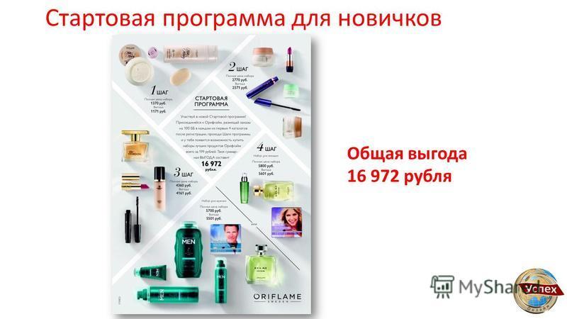 Стартовая программа для новичков Общая выгода 16 972 рубля