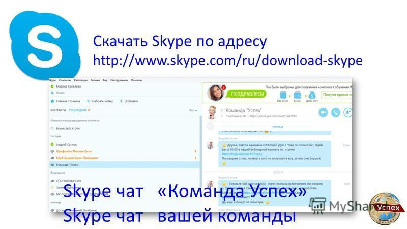 Скачать Skype по адресу http://www.skype.com/ru/download-skype Skype чат «Команда Успех» Skype чат вашей команды