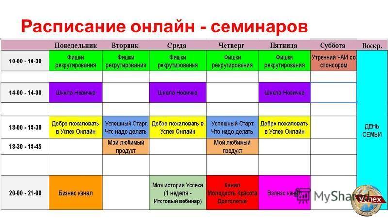 Расписание онлайн - семинаров