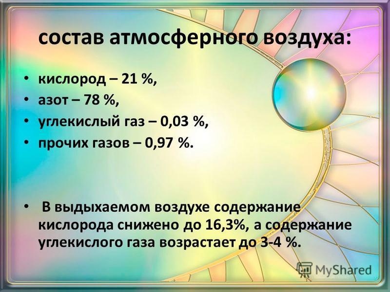 состав атмосферного воздуха: кислород – 21 %, азот – 78 %, углекислый газ – 0,03 %, прочих газов – 0,97 %. В выдыхаемом воздухе содержание кислорода снижено до 16,3%, а содержание углекислого газа возрастает до 3-4 %.