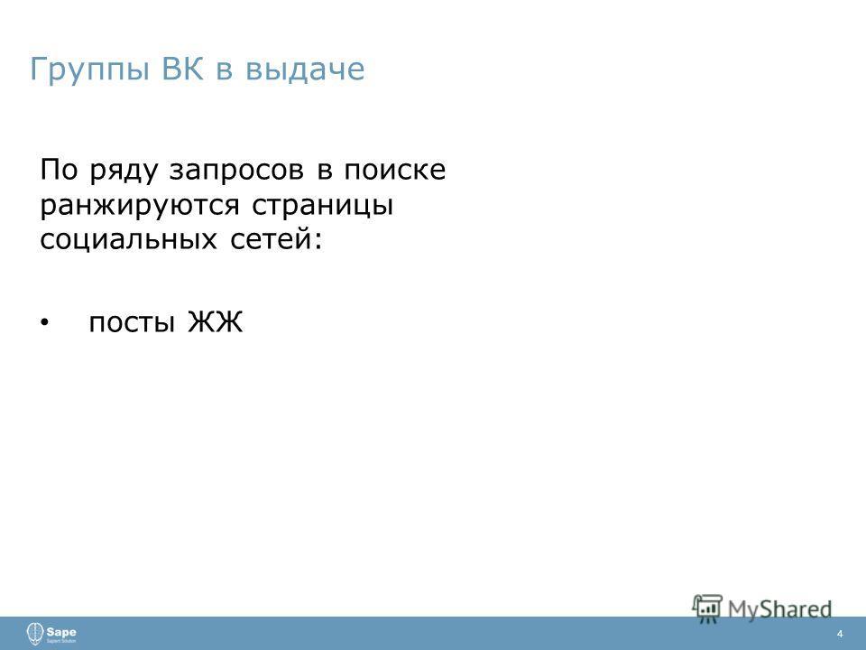 Группы ВК в выдаче 4 По ряду запросов в поиске ранжируются страницы социальных сетей: посты ЖЖ