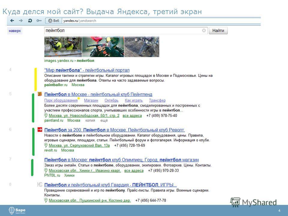 Куда делся мой сайт? Выдача Яндекса, третий экран 4