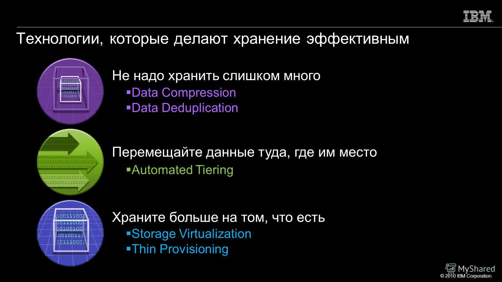 © 2010 IBM Corporation 4 Storage Virtualization Thin Provisioning Data Compression Data Deduplication Automated Tiering Перемещайте данные туда, где им место Храните больше на том, что есть Не надо хранить слишком много Технологии, которые делают хра
