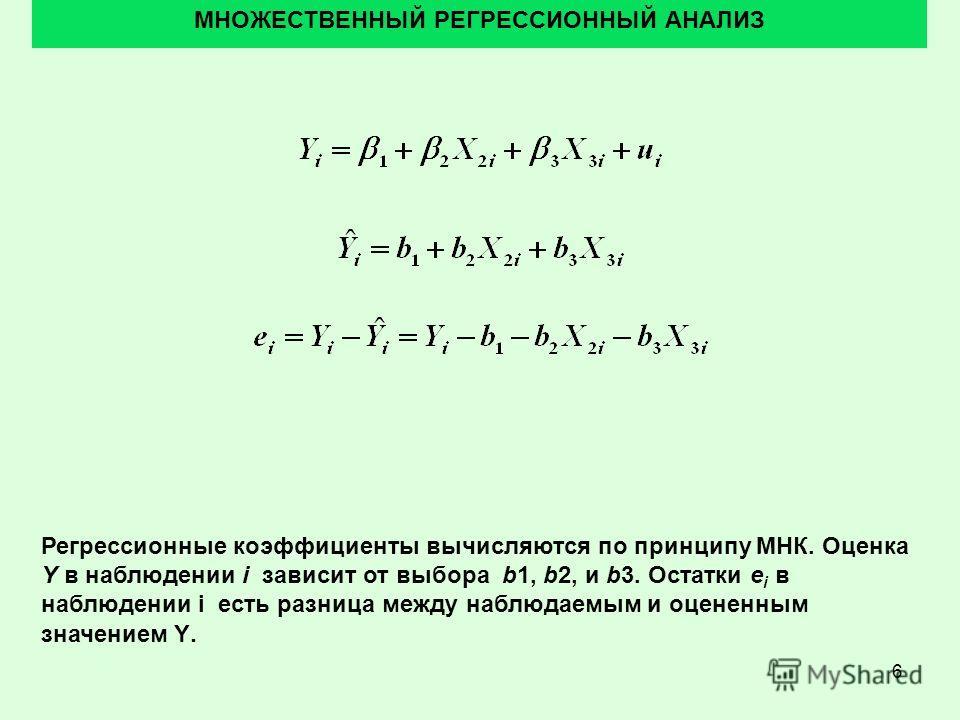 6 МНОЖЕСТВЕННЫЙ РЕГРЕССИОННЫЙ АНАЛИЗ Регрессионные коэффициенты вычисляются по принципу МНК. Оценка Y в наблюдении i зависит от выбора b1, b2, и b3. Остатки e i в наблюдении i есть разница между наблюдаемым и оцененным значением Y.