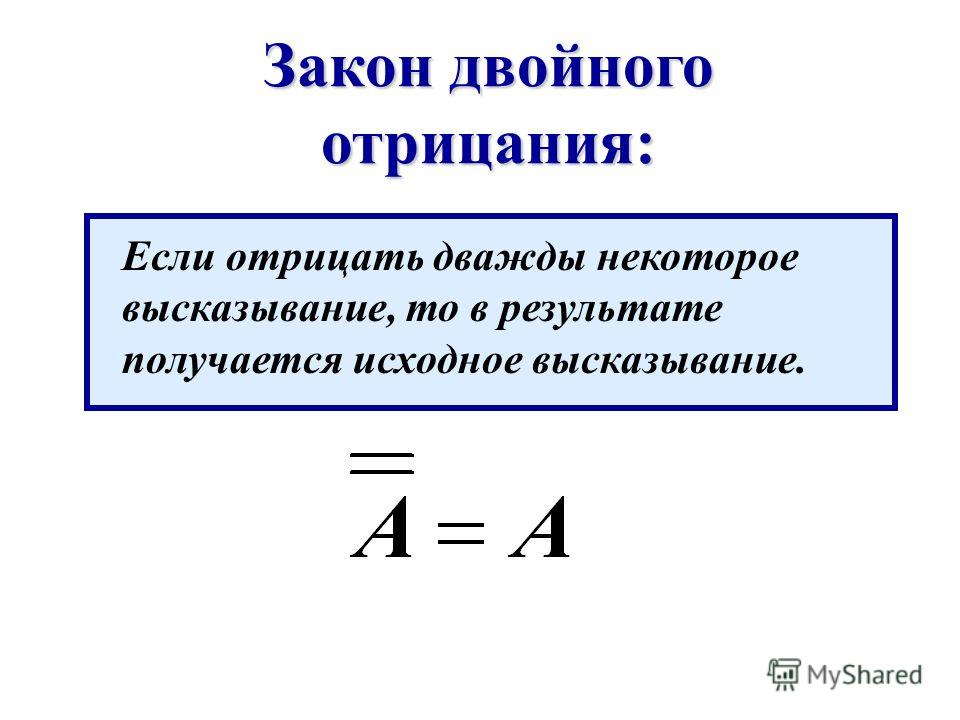 Закон двойного отрицания: Если отрицать дважды некоторое высказывание, то в результате получается исходное высказывание.