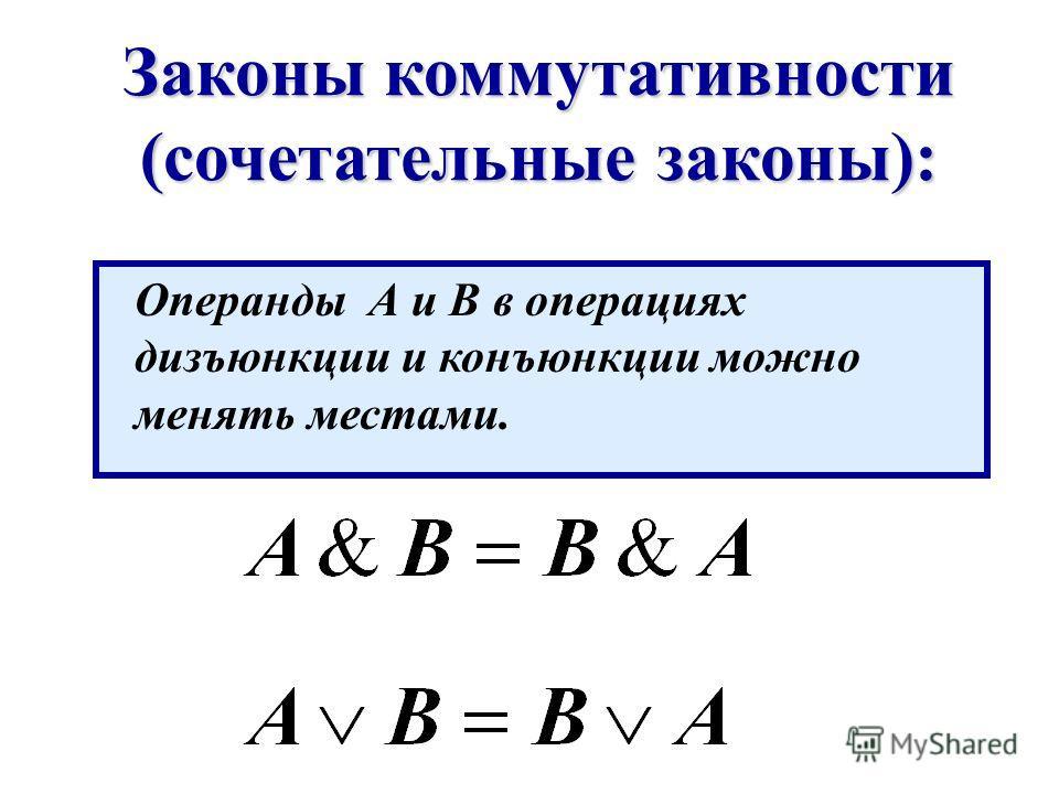 Законы коммутативности (сочетательные законы): Операнды А и В в операциях дизъюнкции и конъюнкции можно менять местами.