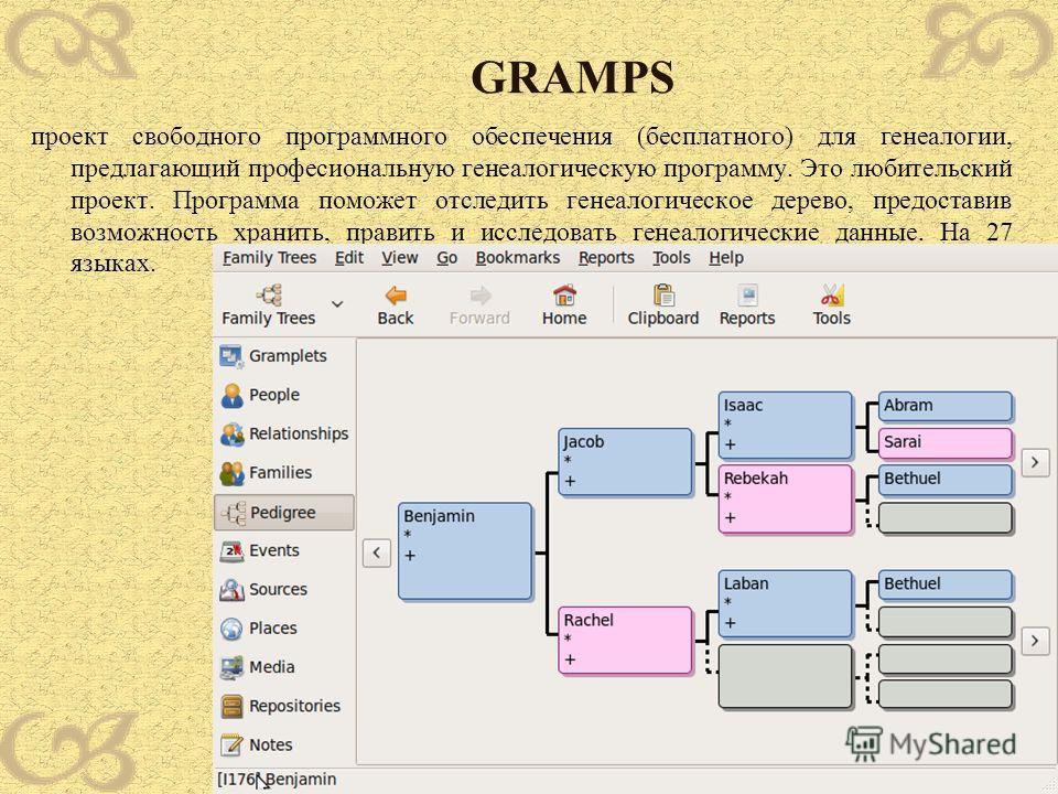 GRAMPS проект свободного программного обеспечения (бесплатного) для генеалогии, предлагающий професиональную генеалогическую программу. Это любительский проект. Программа поможет отследить генеалогическое дерево, предоставив возможность хранить, прав