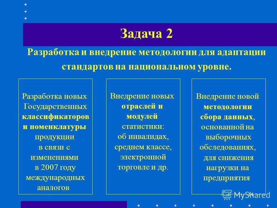14 Разработка и внедрение методологии для адаптации стандартов на национальном уровне. Разработка новых Государственных классификаторов и номенклатуры продукции в связи с изменениями в 2007 году международных аналогов Внедрение новой методологии сбор