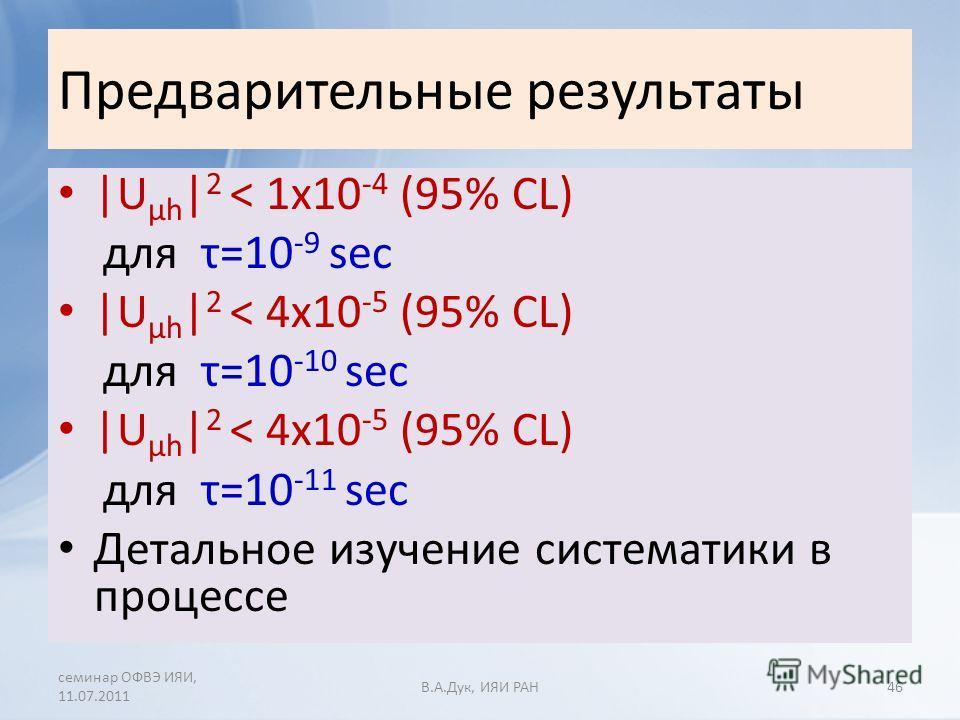Предварительные результаты |U µh | 2 < 1x10 -4 (95% CL) для τ=10 -9 sec |U µh | 2 < 4x10 -5 (95% CL) для τ=10 -10 sec |U µh | 2 < 4x10 -5 (95% CL) для τ=10 -11 sec Детальное изучение систематики в процессе семинар ОФВЭ ИЯИ, 11.07.2011 В.A.Дук, ИЯИ РА