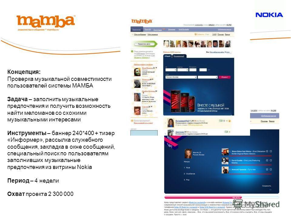 Концепция: Проверка музыкальной совместимости пользователей системы МАМБА Задача – заполнить музыкальные предпочтения и получить возможность найти меломанов со схожими музыкальными интересами Инструменты – баннер 240*400 + тизер «Информер», рассылка