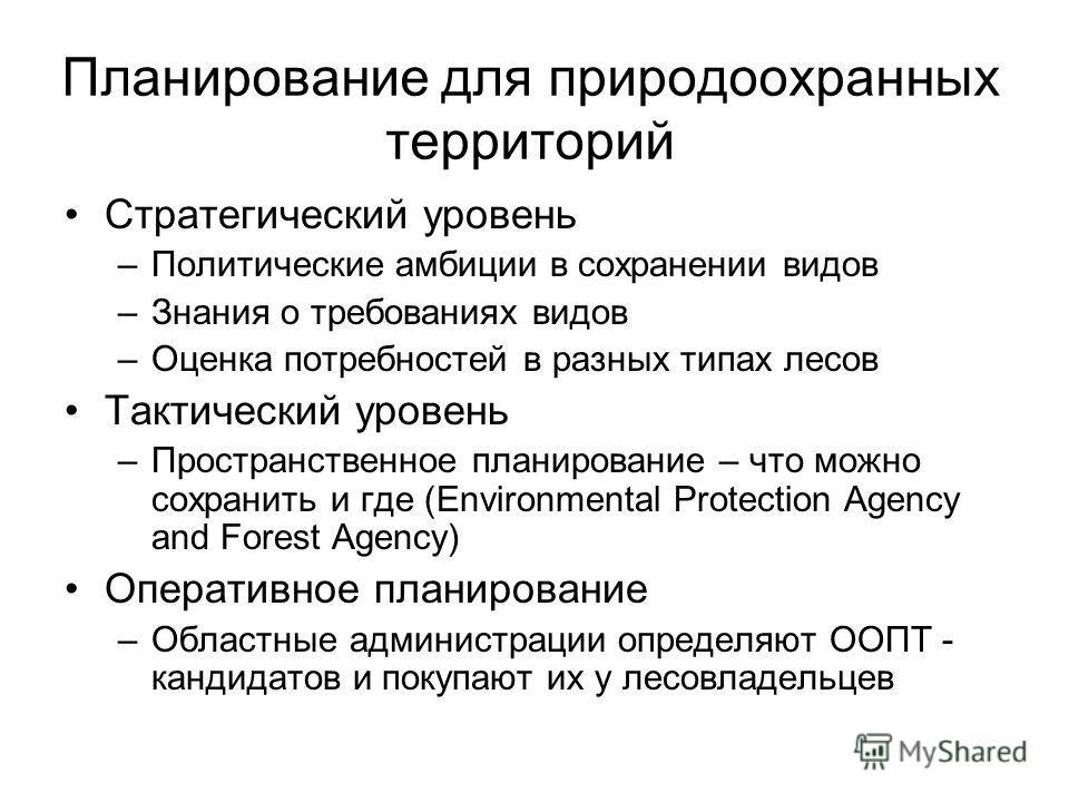 Планирование для природоохранных территорий Стратегический уровень –Политические амбиции в сохранении видов –Знания о требованиях видов –Оценка потребностей в разных типах лесов Тактический уровень –Пространственное планирование – что можно сохранить