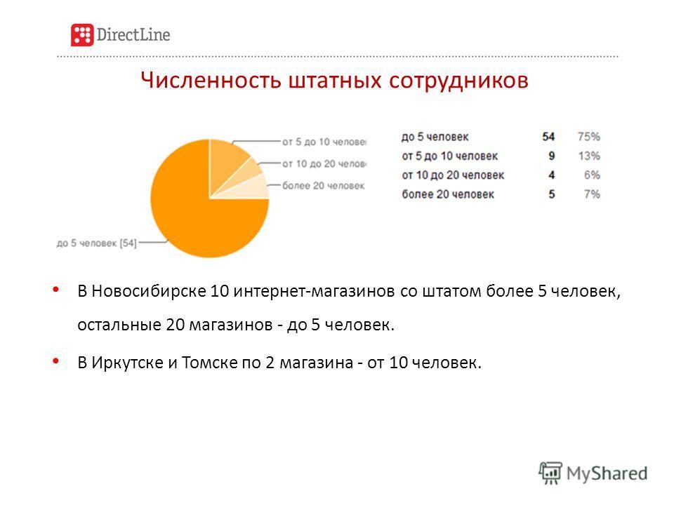 Численность штатных сотрудников В Новосибирске 10 интернет-магазинов со штатом более 5 человек, остальные 20 магазинов - до 5 человек. В Иркутске и Томске по 2 магазина - от 10 человек.