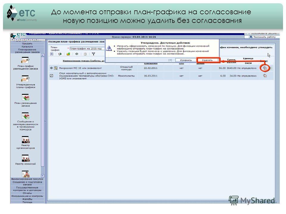 До момента отправки план-графика на согласование новую позицию можно удалить без согласования