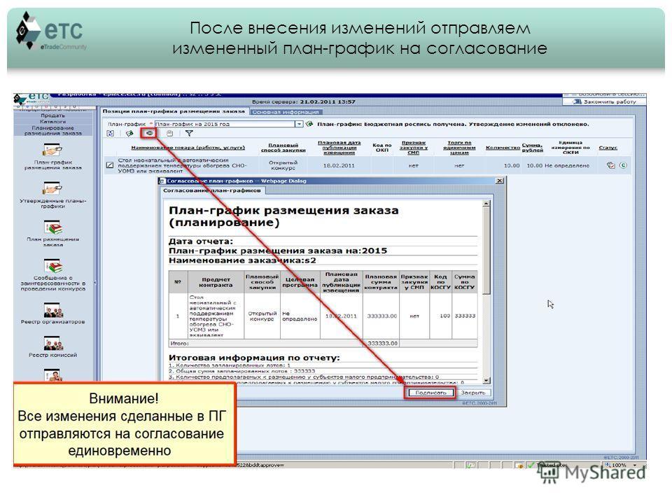 После внесения изменений отправляем измененный план-график на согласование