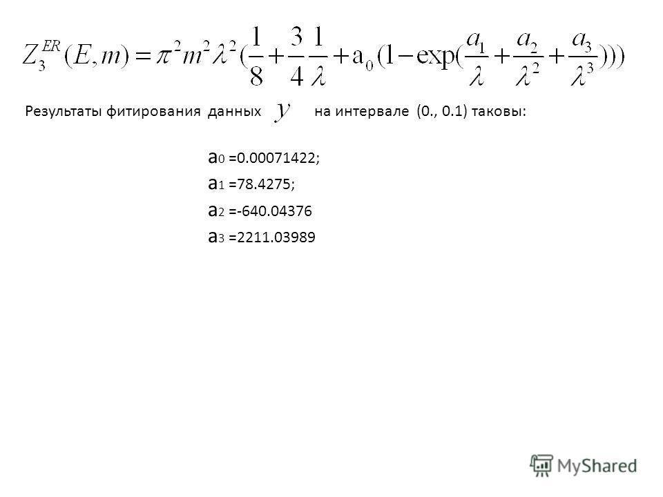 Результаты фитирования данных на интервале (0., 0.1) таковы: a 0 =0.00071422; a 1 =78.4275; a 2 =-640.04376 a 3 =2211.03989