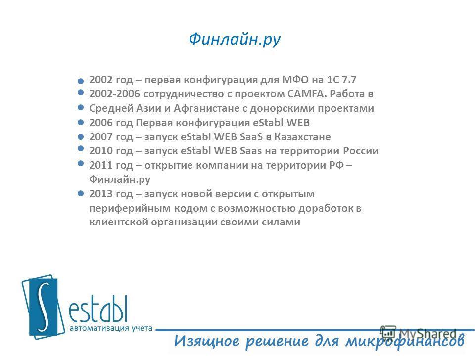 Финлайн.ру 3 2002 год – первая конфигурация для МФО на 1С 7.7 2002-2006 сотрудничество с проектом CAMFA. Работа в Средней Азии и Афганистане с донорскими проектами 2006 год Первая конфигурация eStabl WEB 2007 год – запуск eStabl WEB SaaS в Казахстане