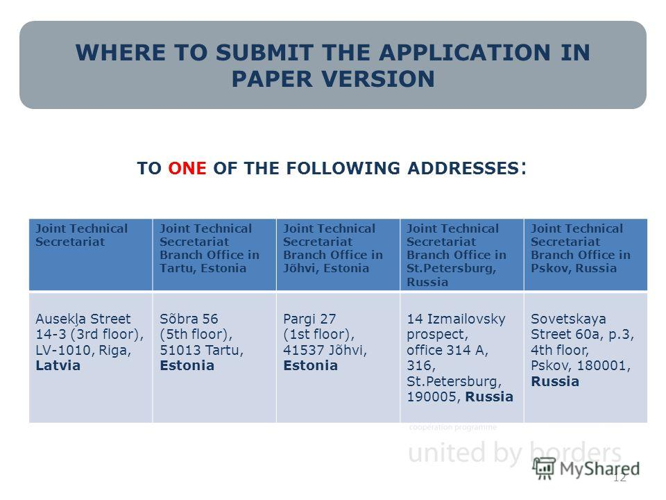 WHERE TO SUBMIT THE APPLICATION IN PAPER VERSION TO ONE OF THE FOLLOWING ADDRESSES : 12 Joint Technical Secretariat Joint Technical Secretariat Branch Office in Tartu, Estonia Joint Technical Secretariat Branch Office in Jõhvi, Estonia Joint Technica