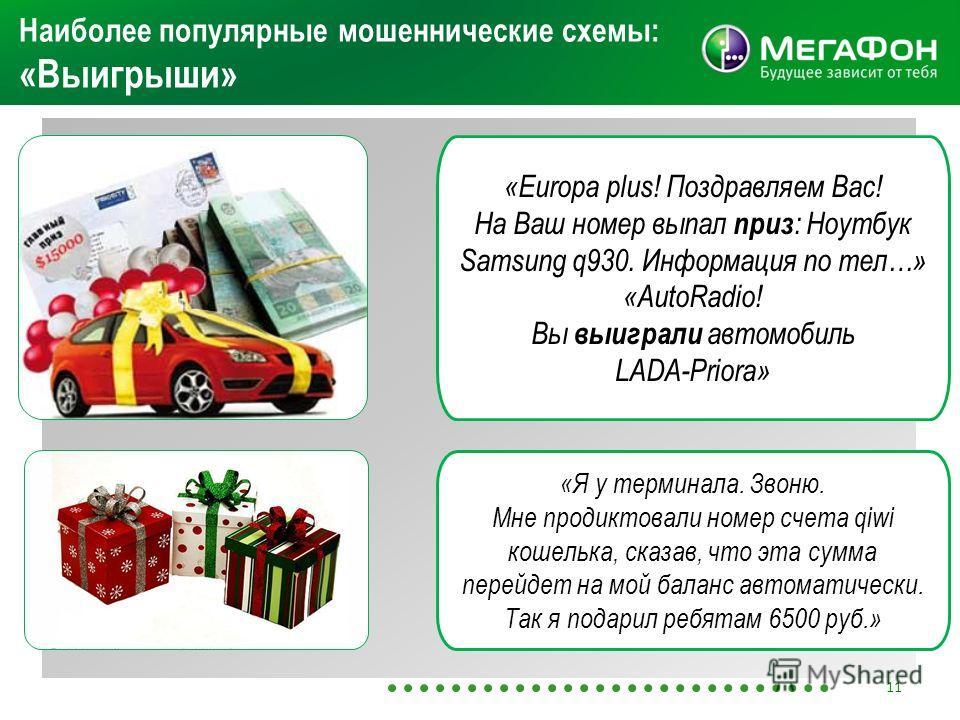 Наиболее популярные мошеннические схемы: «Выигрыши» «Europa plus! Поздравляем Вас! На Ваш номер выпал приз : Ноутбук Samsung q930. Информация по тел…» «AutoRadio! Вы выиграли автомобиль LADA-Priora» «Я у терминала. Звоню. Мне продиктовали номер счета