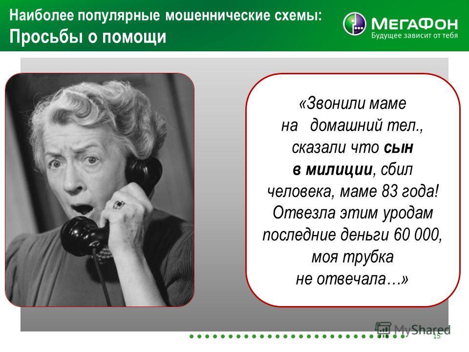 Наиболее популярные мошеннические схемы: Просьбы о помощи «Звонили маме на домашний тел., сказали что сын в милиции, сбил человека, маме 83 года! Отвезла этим уродам последние деньги 60 000, моя трубка не отвечала…» 15