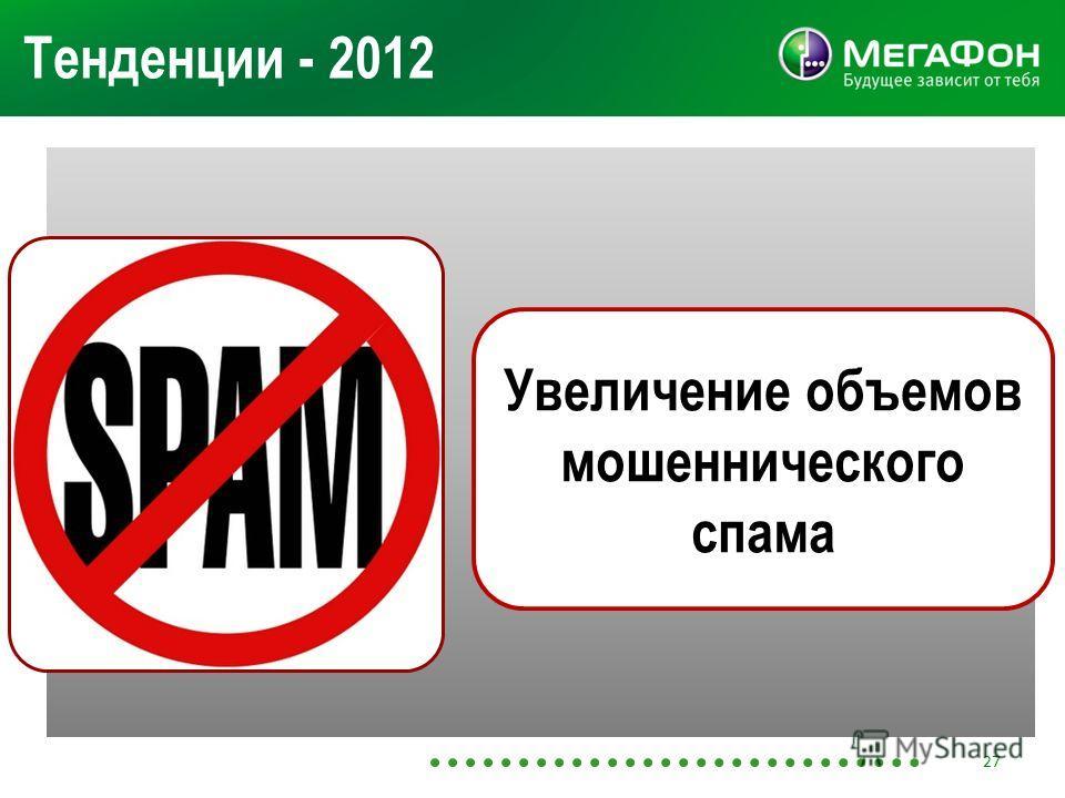 Тенденции - 2012 Увеличение объемов мошеннического спама 27