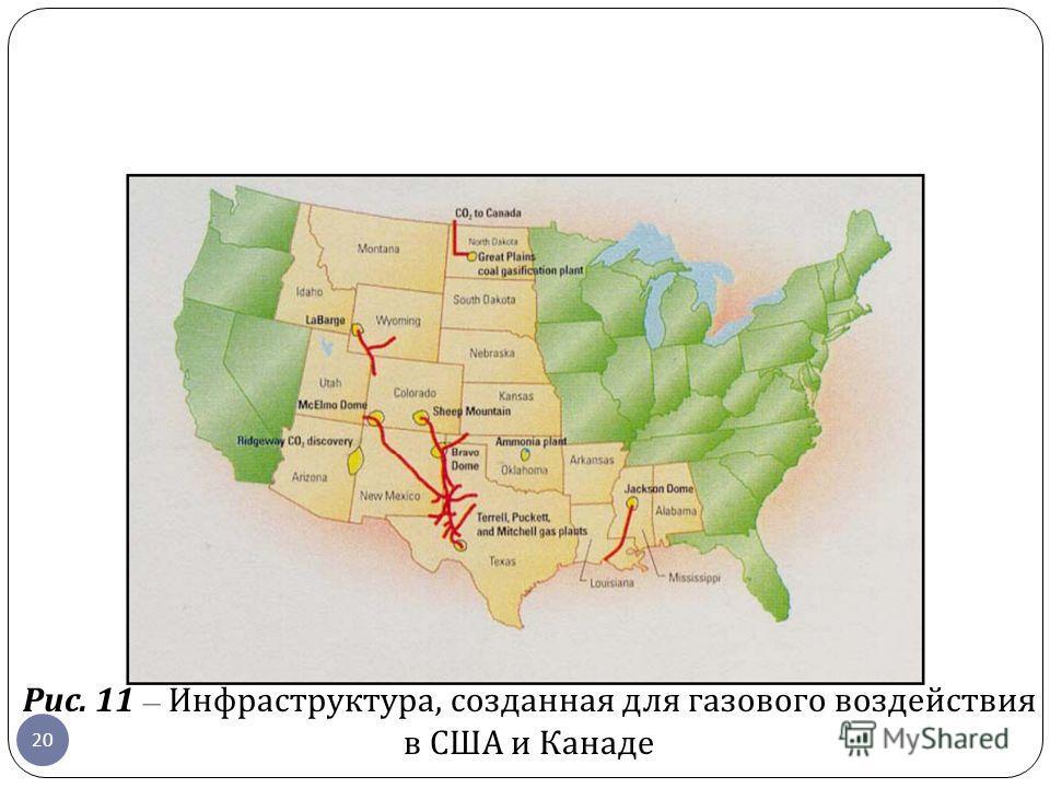 Рис. 11 – Инфраструктура, созданная для газового воздействия в США и Канаде 20