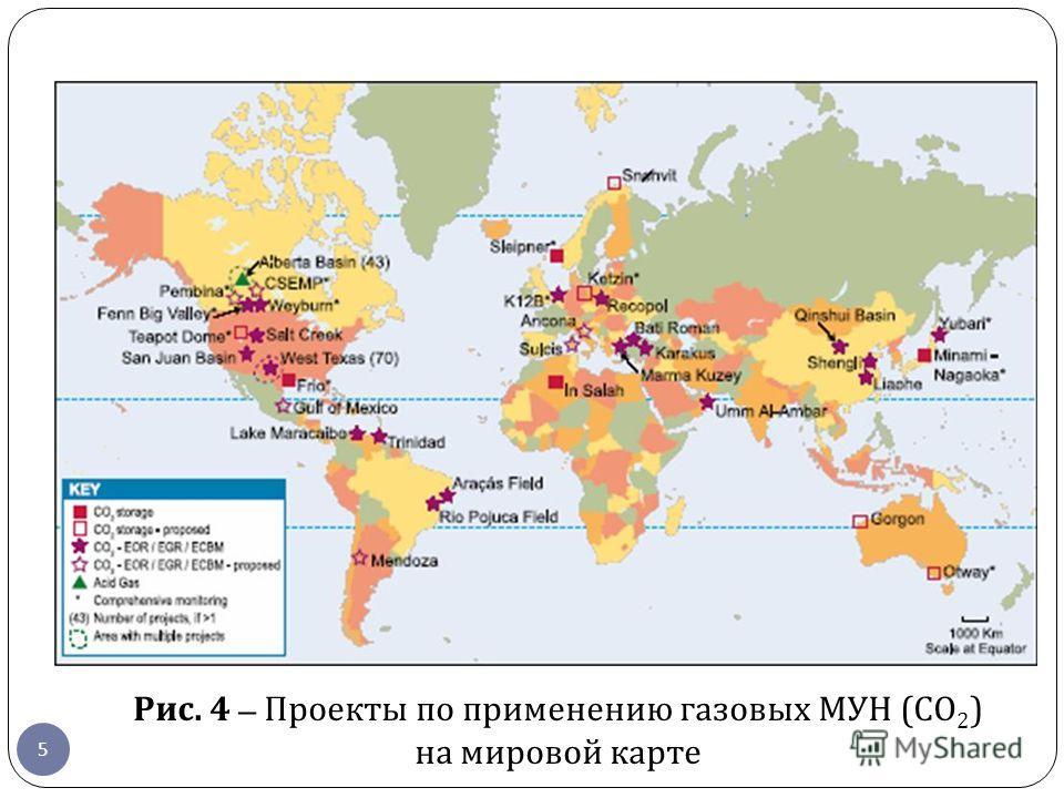 5 Рис. 4 – Проекты по применению газовых МУН ( СО 2 ) на мировой карте