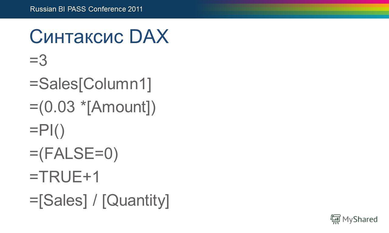 Синтаксис DAX =3 =Sales[Column1] =(0.03 *[Amount]) =PI() =(FALSE=0) =TRUE+1 =[Sales] / [Quantity]