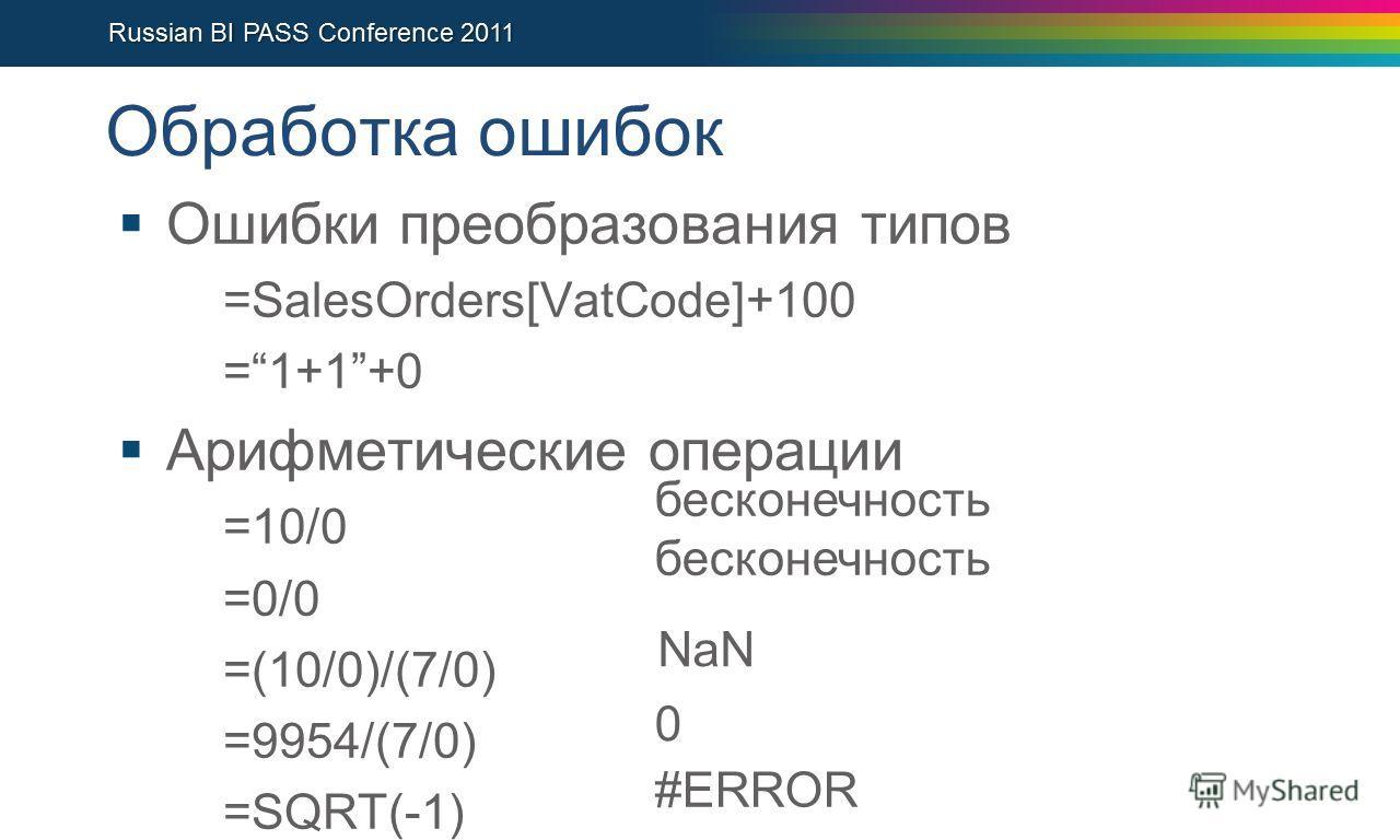 Обработка ошибок Ошибки преобразования типов =SalesOrders[VatCode]+100 =1+1+0 Арифметические операции =10/0 =0/0 =(10/0)/(7/0) =9954/(7/0) =SQRT(-1) бесконечность NaN 0 #ERROR