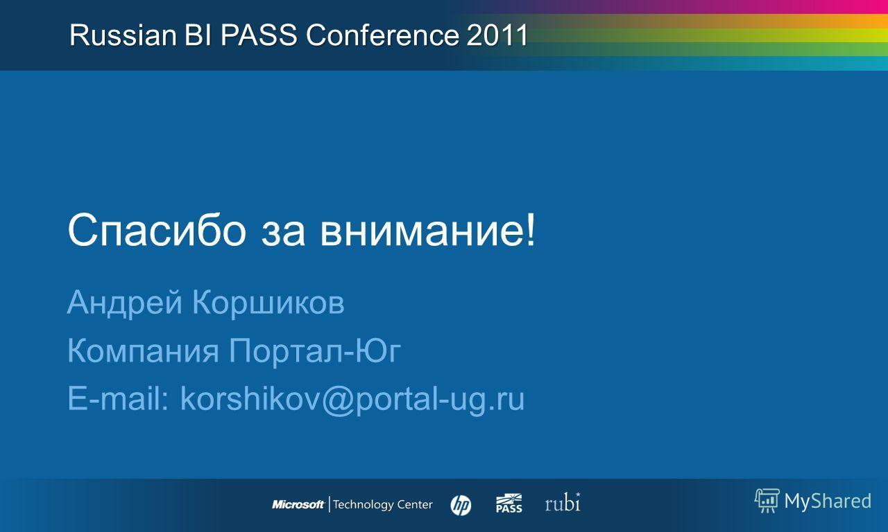 Спасибо за внимание! Андрей Коршиков Компания Портал-Юг E-mail: korshikov@portal-ug.ru