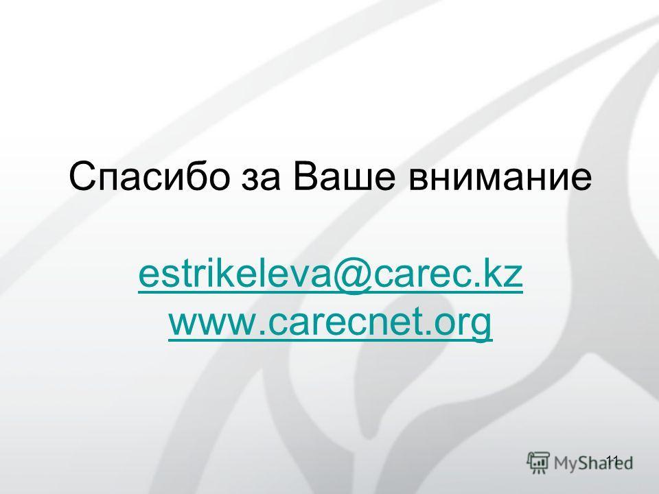 Спасибо за Ваше внимание estrikeleva@carec.kz www.carecnet.org estrikeleva@carec.kz www.carecnet.org 11