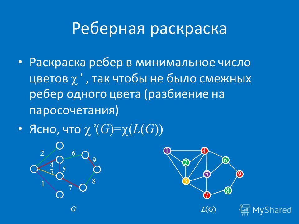 Реберная раскраска Раскраска ребер в минимальное число цветов, так чтобы не было смежных ребер одного цвета (разбиение на паросочетания) Ясно, что(G)= (L(G)) 2 41 5 6 8 7 3 9 1 3 4 26 5 7 8 9 G L(G)L(G)