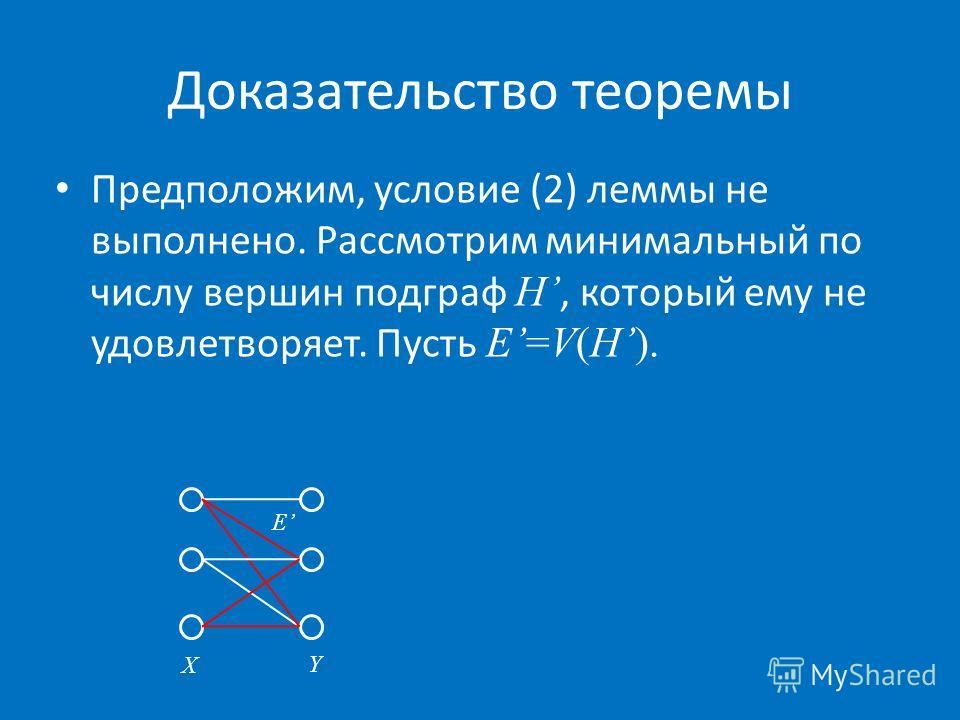 Доказательство теоремы Предположим, условие (2) леммы не выполнено. Рассмотрим минимальный по числу вершин подграф H, который ему не удовлетворяет. Пусть E=V(H). X Y E
