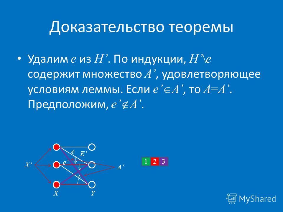 Доказательство теоремы Удалим e из H. По индукции, H\e содержит множество A, удовлетворяющее условиям леммы. Если e A, то A=A. Предположим, e A. X E X 132 A e e Y