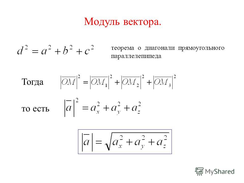 Модуль вектора. теорема о диагонали прямоугольного параллелепипеда Тогда то есть