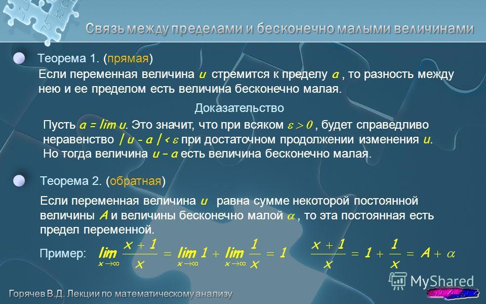 Теорема 1. (прямая) Если переменная величина u стремится к пределу a, то разность между нею и ее пределом есть величина бесконечно малая. Теорема 2. (обратная) Если переменная величина u равна сумме некоторой постоянной величины A и величины бесконеч