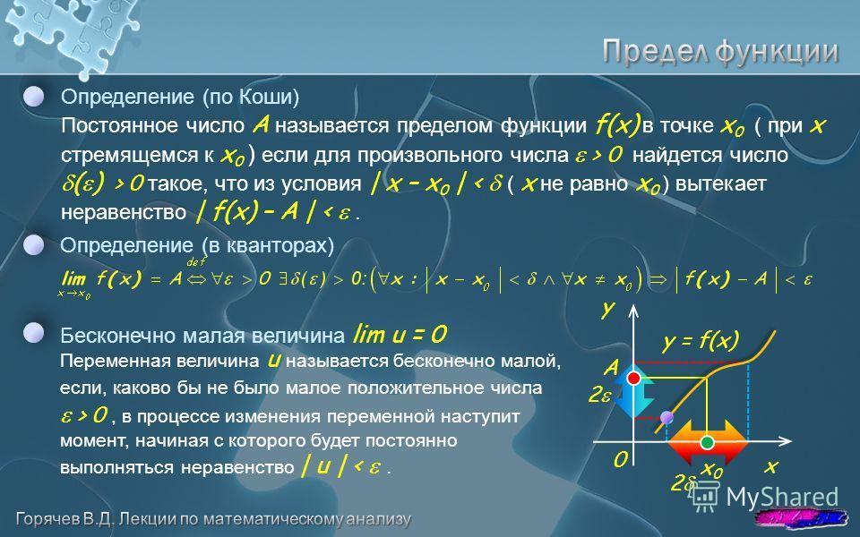 Определение (по Коши) Постоянное число A называется пределом функции f(x) в точке x 0 ( при x стремящемся к x 0 ) если для произвольного числа > 0 найдется число ( ) > 0 такое, что из условия | x – x 0 | < ( x не равно x 0 ) вытекает неравенство | f(