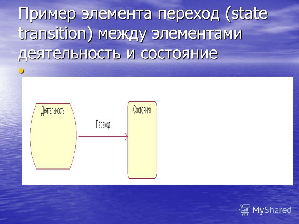 Пример элемента переход (state transition) между элементами деятельность и состояние
