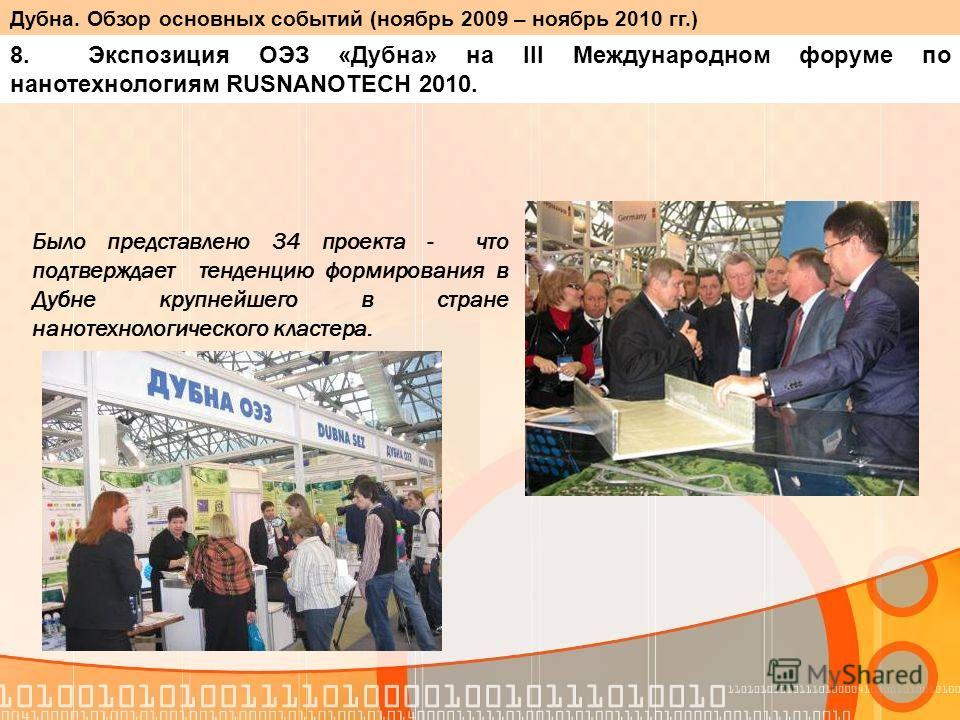 Было представлено 34 проекта - что подтверждает тенденцию формирования в Дубне крупнейшего в стране нанотехнологического кластера. 8. Экспозиция ОЭЗ «Дубна» на III Международном форуме по нанотехнологиям RUSNANOTECH 2010. Дубна. Обзор основных событи