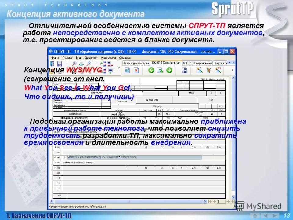 Концепция активного документа 1. Назначение СПРУТ-ТП 13 Отличительной особенностью системы СПРУТ-ТП является работа непосредственно с комплектом активных документов, т.е. проектирование ведется в бланке документа. Подобная организация работы максимал