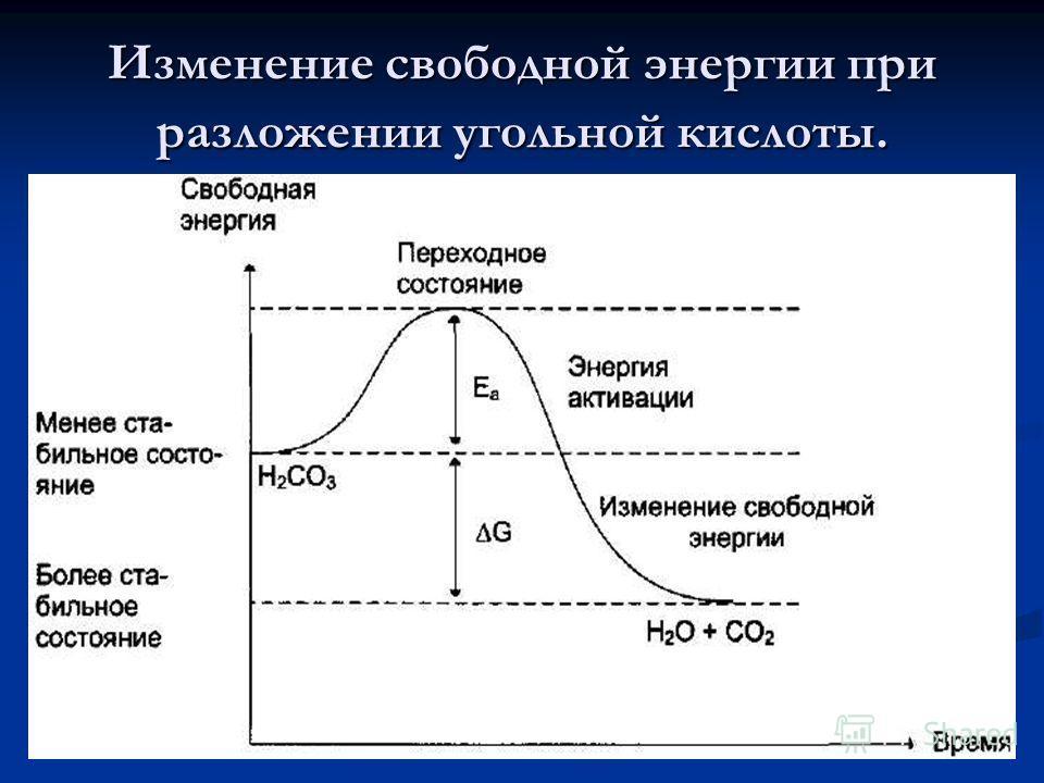 Изменение свободной энергии при разложении угольной кислоты.